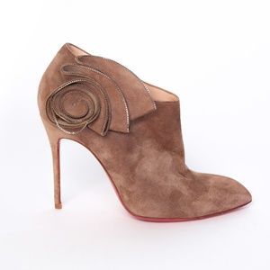 CHRISTIAN LOUBOUTIN BROWN SUEDED BOOTIES WITH ZIP